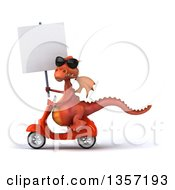 Clipart Of A 3d Red Dragon Wearing Sunglasses Holding A Blank Sign And Riding An Orange Scooter On A White Background Royalty Free Illustration by Julos