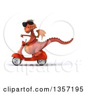 Clipart Of A 3d Red Dragon Wearing Sunglasses Giving A Thumb Down And Riding An Orange Scooter On A White Background Royalty Free Illustration by Julos