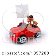 Clipart Of A 3d Red Dragon Wearing Sunglasses Holding A Blank Sign And Driving A Convertible Car On A White Background Royalty Free Illustration by Julos