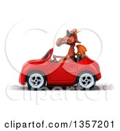 Clipart Of A 3d Red Dragon Wearing Sunglasses And Driving A Convertible Car On A White Background Royalty Free Illustration by Julos
