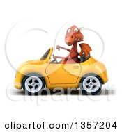 Clipart Of A 3d Red Dragon Giving A Thumb Down And Driving A Yellow Convertible Car On A White Background Royalty Free Illustration by Julos