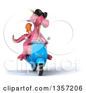 Clipart Of A 3d Pink Dragon Wearing Sunglasses And Riding A Blue Scooter On A White Background Royalty Free Illustration by Julos