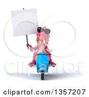 Clipart Of A 3d Pink Dragon Wearing Sunglasses Holding A Blank Sign And Riding A Blue Scooter On A White Background Royalty Free Illustration by Julos