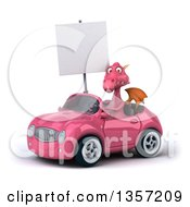 Clipart Of A 3d Pink Dragon Holding A Blank Sign And Driving A Convertible Car On A White Background Royalty Free Illustration