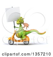 Clipart Of A 3d Green Dragon Holding A Blank Sign And Riding A Yellow Scooter On A White Background Royalty Free Illustration