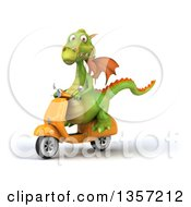 Clipart Of A 3d Green Dragon Riding A Yellow Scooter On A White Background Royalty Free Illustration
