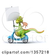 Clipart Of A 3d Green Dragon Holding A Blank Sign And Riding A Blue Scooter On A White Background Royalty Free Illustration