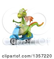 Clipart Of A 3d Green Dragon Giving A Thumb Up And Riding A Blue Scooter On A White Background Royalty Free Illustration