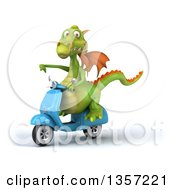 Clipart Of A 3d Green Dragon Giving A Thumb Down And Riding A Blue Scooter On A White Background Royalty Free Illustration