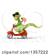 Clipart Of A 3d Green Dragon Wearing Sunglasses And Riding An Orange Scooter On A White Background Royalty Free Illustration