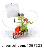 Clipart Of A 3d Green Dragon Wearing Sunglasses Holding A Blank Sign And Riding An Orange Scooter On A White Background Royalty Free Illustration