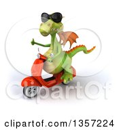Clipart Of A 3d Green Dragon Wearing Sunglasses Giving A Thumb Up And Riding An Orange Scooter On A White Background Royalty Free Illustration