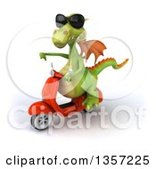 Clipart Of A 3d Green Dragon Wearing Sunglasses Giving A Thumb Down And Riding An Orange Scooter On A White Background Royalty Free Illustration