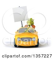 Clipart Of A 3d Green Dragon Holding A Blank Sign And Driving A Yellow Convertible Car On A White Background Royalty Free Illustration