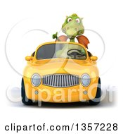 Clipart Of A 3d Green Dragon Giving A Thumb Up And Driving A Yellow Convertible Car On A White Background Royalty Free Illustration