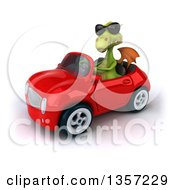 Clipart Of A 3d Green Dragon Wearing Sunglasses And Driving A Red Convertible Car On A White Background Royalty Free Illustration