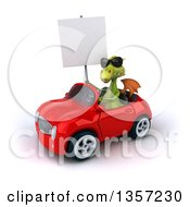 Clipart Of A 3d Green Dragon Wearing Sunglasses Holding A Blank Sign And Driving A Red Convertible Car On A White Background Royalty Free Illustration by Julos