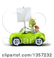 Clipart Of A 3d Green Dragon Holding A Blank Sign And Driving A Convertible Car On A White Background Royalty Free Illustration by Julos