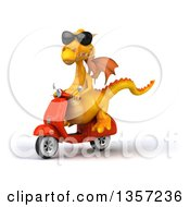 Clipart Of A 3d Yellow Dragon Wearing Sunglasses And Riding An Orange Scooter On A White Background Royalty Free Illustration by Julos