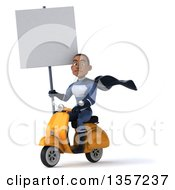Clipart Of A 3d Young Black Male Super Hero Dark Blue Suit Holding A Blank Sign And Riding A Yellow Scooter On A White Background Royalty Free Illustration