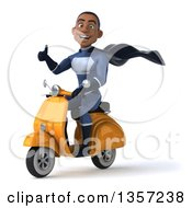 Clipart Of A 3d Young Black Male Super Hero Dark Blue Suit Giving A Thumb Up And Riding A Yellow Scooter On A White Background Royalty Free Illustration