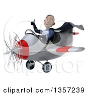 Clipart Of A 3d Aviator Pilot Young Black Male Super Hero Dark Blue Suit Giving A Thumb Up And Flying A White And Red Airplane On A White Background Royalty Free Illustration