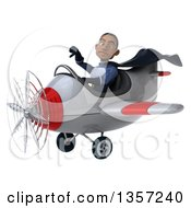Clipart Of A 3d Aviator Pilot Young Black Male Super Hero Dark Blue Suit Giving A Thumb Down And Flying A White And Red Airplane On A White Background Royalty Free Illustration by Julos