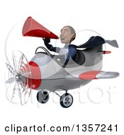 Clipart Of A 3d Aviator Pilot Young Black Male Super Hero Dark Blue Suit Using A Megaphone And Flying A White And Red Airplane On A White Background Royalty Free Illustration