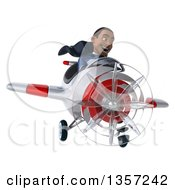 Clipart Of A 3d Aviator Pilot Young Black Male Super Hero Dark Blue Suit Flying A White And Red Airplane On A White Background Royalty Free Illustration