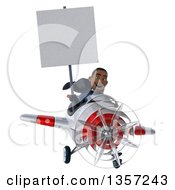 Clipart Of A 3d Aviator Pilot Young Black Male Super Hero Dark Blue Suit Holding A Blank Sign And Flying A White And Red Airplane On A White Background Royalty Free Illustration