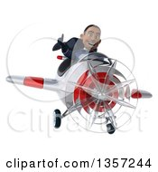 Clipart Of A 3d Aviator Pilot Young Black Male Super Hero Dark Blue Suit Giving A Thumb Up And Flying A White And Red Airplane On A White Background Royalty Free Illustration by Julos