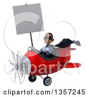 Clipart Of A 3d Aviator Pilot Young Black Male Super Hero Dark Blue Suit Wearing Sunglasses Holding A Blank Sign And Flying A Red Airplane On A White Background Royalty Free Illustration