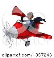 Clipart Of A 3d Aviator Pilot Young Black Male Super Hero Dark Blue Suit Wearing Sunglasses Using A Megaphone And Flying A Red Airplane On A White Background Royalty Free Illustration