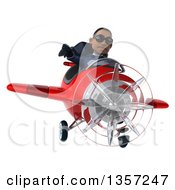 Clipart Of A 3d Aviator Pilot Young Black Male Super Hero Dark Blue Suit Wearing Sunglasses Giving A Thumb Down And Flying A Red Airplane On A White Background Royalty Free Illustration