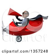 Clipart Of A 3d Aviator Pilot Young Black Male Super Hero Dark Blue Suit Wearing Sunglasses Using A Megaphone And Flying A Red Airplane On A White Background Royalty Free Illustration by Julos