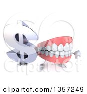 Clipart Of A 3d Mouth Teeth Character Holding Up A Dollar Currency Symbol And Thumb Down On A White Background Royalty Free Illustration