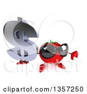 Clipart Of A 3d Tomato Character Wearing Sunglasses Holding Up A Dollar Currency Symbol And Thumb Down On A White Background Royalty Free Illustration by Julos