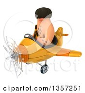 Clipart Of A 3d Caveman Pilot Flying A Yellow Airplane On A White Background Royalty Free Illustration by Julos