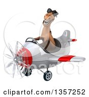 Clipart Of A 3d Brown Horse Aviator Pilot Wearing Sunglasses And Flying A White And Red Airplane On A White Background Royalty Free Illustration