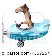 Clipart Of A 3d Brown Horse Aviator Pilot Flying A Blue Airplane On A White Background Royalty Free Illustration by Julos