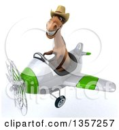 Clipart Of A 3d Brown Cowboy Horse Aviator Pilot Flying A White And Green Airplane On A White Background Royalty Free Illustration by Julos