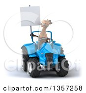 Clipart Of A 3d Brown Horse Holding A Blank Sign And Operating A Blue Tractor On A White Background Royalty Free Illustration by Julos