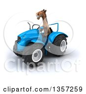 Clipart Of A 3d Brown Horse Operating A Blue Tractor On A White Background Royalty Free Illustration by Julos