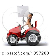 Clipart Of A 3d Brown Horse Wearing Sunglasses Holding A Blank Sign And Operating A Red Tractor On A White Background Royalty Free Illustration by Julos