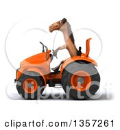 Clipart Of A 3d Brown Horse Operating An Orange Tractor On A White Background Royalty Free Illustration by Julos