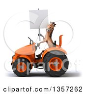 Clipart Of A 3d Brown Horse Holding A Blank Sign And Operating An Orange Tractor On A White Background Royalty Free Illustration