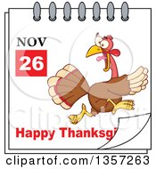 Clipart Of A November 26th Happy Thanksgiving Day Calendar With A Turkey Bird Running Away Royalty Free Vector Illustration