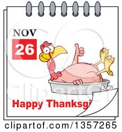 Clipart Of A November 26th Happy Thanksgiving Day Calendar With A Naked Turkey Bird Giving A Thumb Up And Sitting In A Roasting Pan Royalty Free Vector Illustration