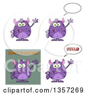 Clipart Of Cartoon Purple Monsters Royalty Free Vector Illustration