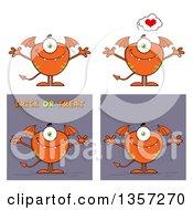 Clipart Of Cartoon Orange Monsters Royalty Free Vector Illustration
